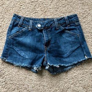 Frayed bottom Levi denim jeans